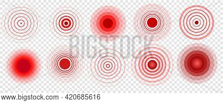 Pain Icon. Red Circle. Pain Relief. Localization Concept, Pain Relief. Set Of Vector Isolated, Symbo