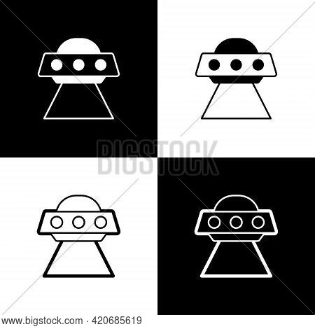 Set Ufo Flying Spaceship Icon Isolated On Black And White Background. Flying Saucer. Alien Space Shi