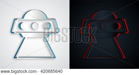 Paper Cut Ufo Flying Spaceship Icon Isolated On Grey And Black Background. Flying Saucer. Alien Spac