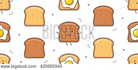 Toast Icon. Fried Egg And Toast Seamless Pattern. Vector Hand Drawn Illustration