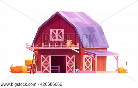 Red Wooden Barn With Triangular Gray Roof, Windows And Open Doors With White Boards Isolated Rural H