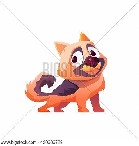 Dog Cartoon Funny Animal Isolated On White. Vector Illustration Of Brown Puppy Waving Tail, Farm Pet