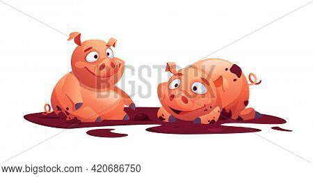 Pigs Livestock Animals Playing In Mud Isolated Cartoon Piglets. Vector Swine Piggy Farming Agricultu