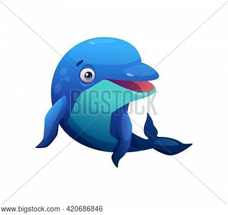 Dolphin Blue Cartoon Animal Isolated Marine Wildlife Fish Isolated On White. Vector Jumping Or Leapi
