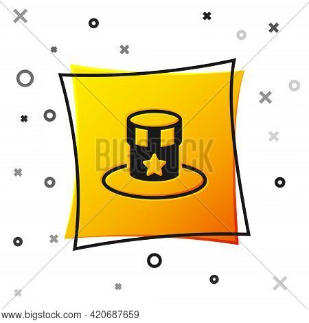 Black Patriotic American Top Hat Icon Isolated On White Background. Uncle Sam Hat. American Hat Inde