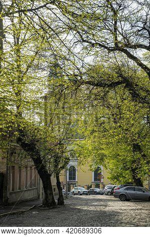 Uzhhorod, Ukraine - May 1, 2021: Greek Catholic Cathedral In Uzhgorod, Ukraine. Krestovozdvizhensky