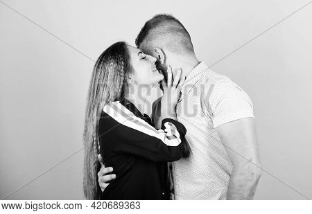 Sharing Secrets. Couple Goals Concept. Man And Woman Beige Background. Family Love. Couple Flirting.