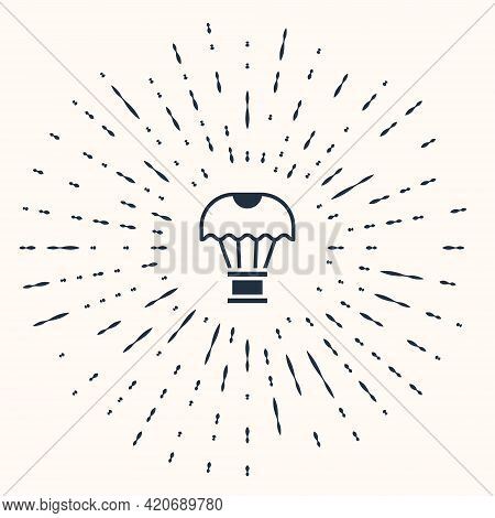 Grey Box Flying On Parachute Icon Isolated On Beige Background. Parcel With Parachute For Shipping.