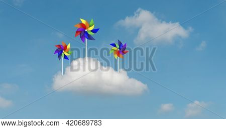 Colorful Blades Turbines On White Fluffy Cloud, Paper Rainbow Windmill Drawing Illustration Die Cut