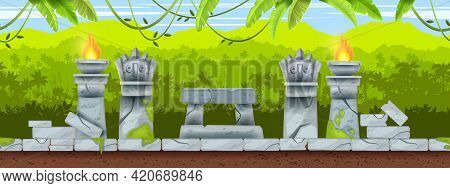 Jungle Game Seamless Aztec Landscape, Mexican Tropical Ancient Background, Stone Altar, Totem Face.