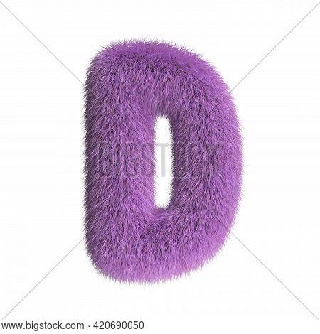 Hairy Font, Furry Alphabet, 3d Rendering, Letter D