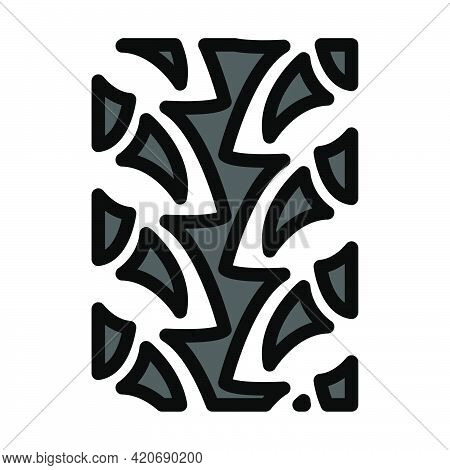 Bike Tyre Print Icon. Editable Bold Outline With Color Fill Design. Vector Illustration.