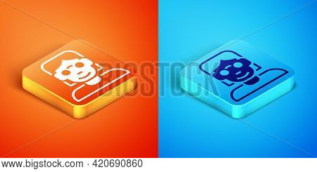 Isometric Hacker Or Coder Icon Isolated On Orange And Blue Background. Programmer Developer Working