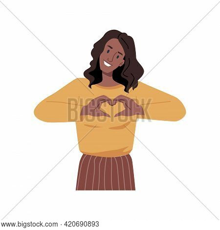 Gesturing Female Character Showing Heart Shape With Hands, Isolated Young Girl. Lovely Young Woman E