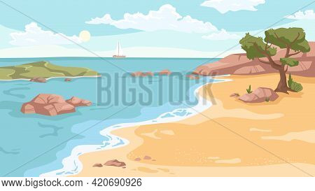 Seashore Landscape Background In Flat Cartoon. Vector Sea Beach With Exotic Green Trees, Rocky Cliff