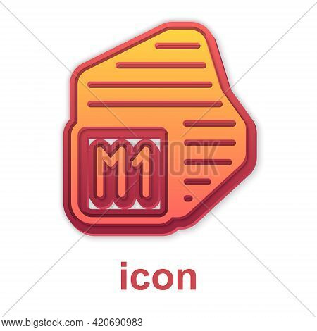 Gold Processor Icon Isolated On White Background. Cpu, Central Processing Unit, Microchip, Microcirc