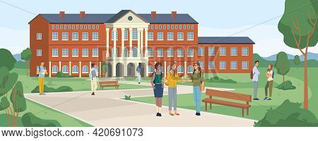 Campus Of University And Green Park With Walking Students, College Building Landscape Scenery Flat C