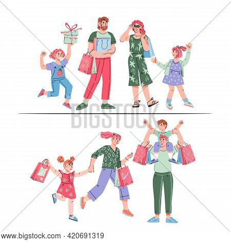 Set Characters Of Happy Families Of Shoppers - Parents And Children With Shopping Bags At Sale. Fath