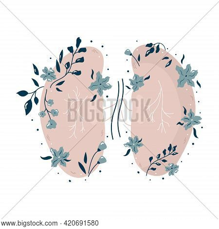 Anatomical Kidneys With Flowers And Different Plants.