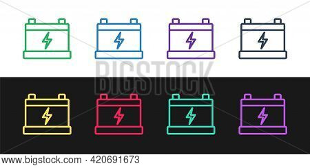 Set Line Car Battery Icon Isolated On Black And White Background. Accumulator Battery Energy Power A