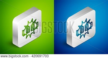 Isometric Line Punch In Boxing Gloves Icon Isolated On Green And Blue Background. Boxing Gloves Hitt
