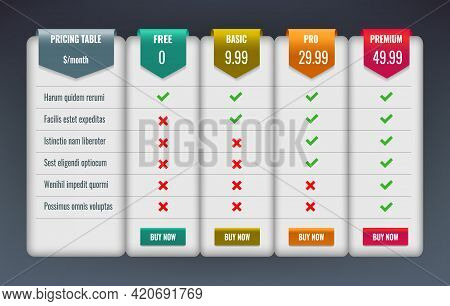 Comparative Price Table. Compare Services Website Chart Design With Labels And Tabs, Prices Comparis
