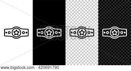 Set Line Boxing Belt Icon Isolated On Black And White, Transparent Background. Belt Boxing Sport Cha