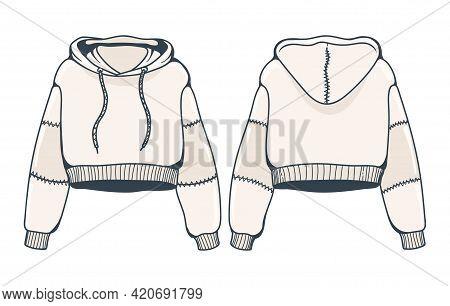 Female Sweatshirt With Hood. Vector Fashion Women Top Clothing, Young Girl Fashionable Drawing Sweat