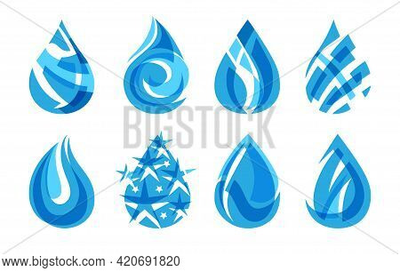 Abstract Mosaic Logo Drops. Water Drop Designs For Blue Logos For Nature Brands, Drops Templates For
