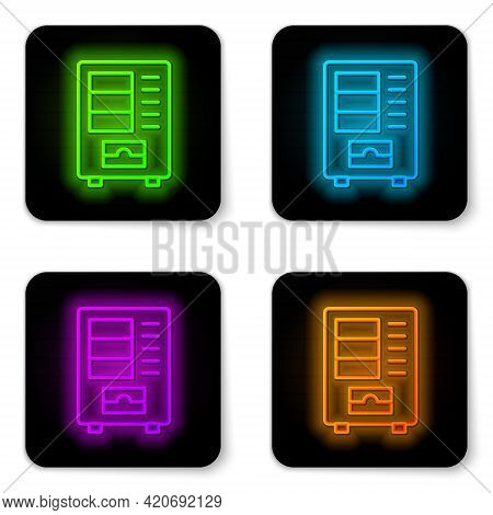 Glowing Neon Line Vending Machine Of Food And Beverage Automatic Selling Icon Isolated On White Back
