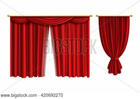 Realistic Red Curtains. Luxury Curtain Cornice Open And Closed, Interior Drapery Textile. Theatre Or