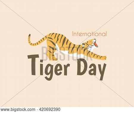Postcard To The International Day Of The Tiger. July 29. A Tiger With An Open Mouth Stretches After
