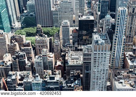 New York City, Usa - June 25, 2018: Aerial View Of The Midtown Of Manhattan From Empire State Buildi