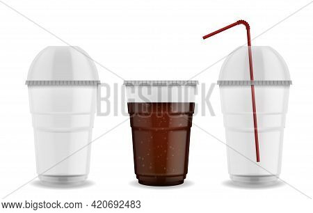Cup With Sphere Dome Cap. Realistic Plastic Mug With Straw. 3d Empty Or Full Of Carbonated Drink Tra