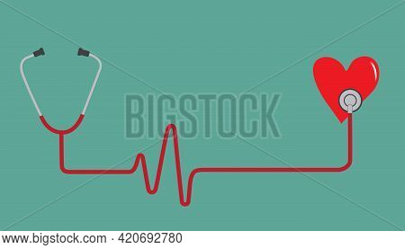 Stethoscope And Heart With A Heart Beat Pulse Concept In Green Background