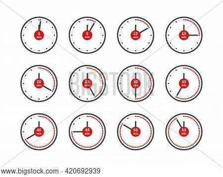 Timer Icons. Analog Clocks Dial With Red Arrows Different Positions. Countdown Minutes. Round Timepi