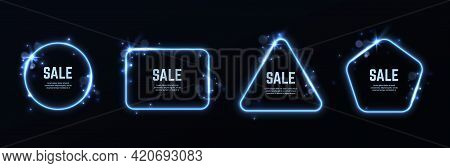 Light Effect Frames. Glowing Different Shapes Borders With Sale Text And Copy Space, Round And Squar