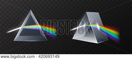 Light Prism. Realistic Glass Pyramid With Refracted Laser Ray, Rainbow Spectrum Dispersion, 3d Physi