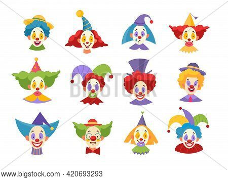 Clown Faces. Funny Comic Clownish Masks, Kids Comedy Artists Physiognomies, Heads With Crazy Color H
