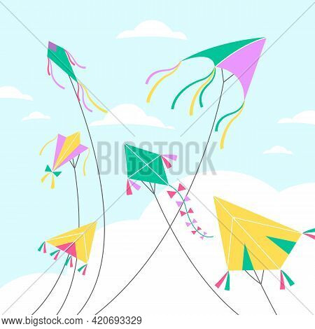 Kites In Sky. Different Shapes Air Toys On Clouds Backdrop, Blue Sky Background, Colorful Holiday Ba