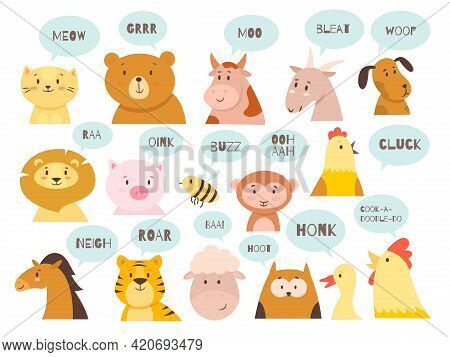 Animals Sounds. Cute Kids Fauna Characters With Typical Noises Of Species, Babies Educational Icons,