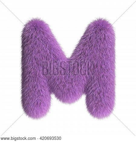 Hairy Font, Furry Alphabet, 3d Rendering, Letter M