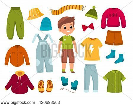 Boy Clothes. Young Modern Child With Apparel Around, Different Seasons Casual Wear, Character With J
