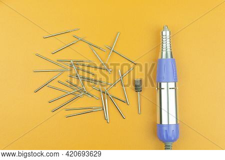 Drills For Engraving Are Laid Out On The Table. Engraving Attachments For Metal, Stone. Drills For D