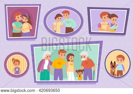 Family Photos. Pictures On Wall. Individual Or People Group Portraits. Photography Set Of Parents Wi