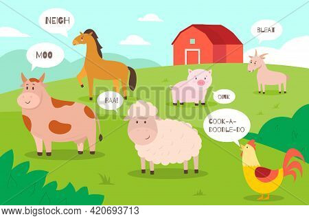 Farm Animals Background. Cartoon Funny Domestic Animals On Meadow With Speech Bubbles And Sounds, Fa