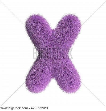 Hairy Font, Furry Alphabet, 3d Rendering, Letter X