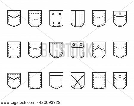 Patch Pocket. Clothes Pouches With Flaps, Buttons And Decor Seams. Types Set Of Decorative Elements