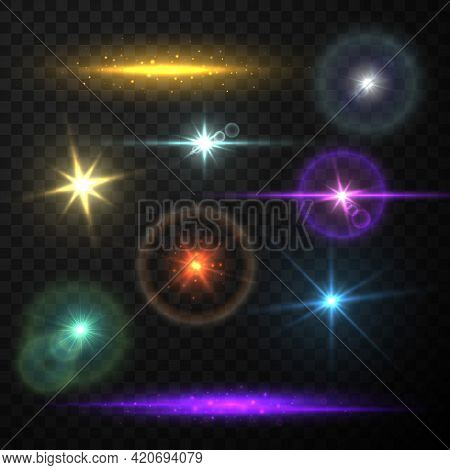 Collection Realistic Lens Flare Light Vector Illustration. Bright Glow Sparkles Shining Stars Effect