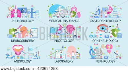 Ophthalmologist, Pulmonologist, Vector Template Set For Medical Websites.